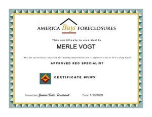 REO Certificate Image